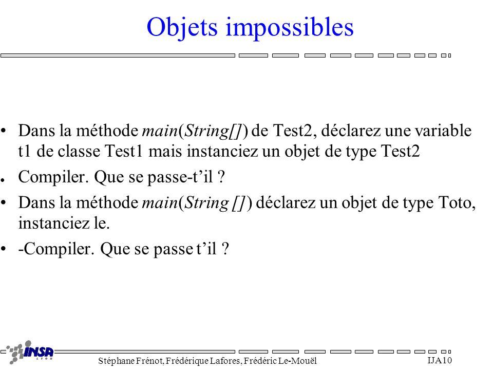 Objets impossibles Dans la méthode main(String[]) de Test2, déclarez une variable t1 de classe Test1 mais instanciez un objet de type Test2.
